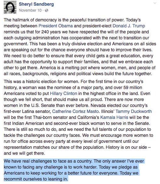 sheryl sandberg facebook election post